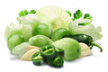 Ingredients for Salsa Verde, paths Royalty Free Stock Photo