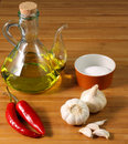 Ingredients: Salt, oil, garlic and chilli Royalty Free Stock Photography