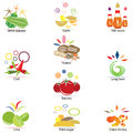 Ingredients of thai food papaya salad vector set Royalty Free Stock Photos