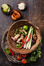 Ingredients for Thai soup Tom Yam Royalty Free Stock Photo