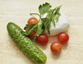 Ingredients for vegetable salad with tomatoes cucumbers and mozzarella cheese Royalty Free Stock Photography