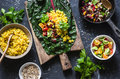 Ingredients for vegetarian chard packets. Chard leaves stuffed with turmeric lentils and vegetables. Vegetarian healthy food Royalty Free Stock Photo