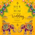 InIndian wedding Invitation carddian wedding Invitation card templates with gold patterned and crystals on paper color Background. Royalty Free Stock Photo