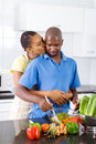 Initmate couple in kitchen Royalty Free Stock Photo