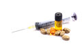 Injection and pills beautiful shot of on white background Royalty Free Stock Photo