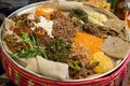 Injera be wot traditional ethiopian food several types of stew and meat served on Royalty Free Stock Image