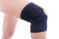 Injured knee in orthopedic bandage female athlete Royalty Free Stock Photos
