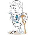 Injured man in bandages vector illustration of a monochrome cartoon character sad looking with a broken leg and bandaged arm and Royalty Free Stock Photo