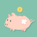 Injured Piggy bank stand on the floor and dollar coin will fill to the coin slot, cute pig  flat design Royalty Free Stock Photo
