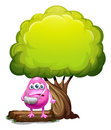 An injured pink beanie monster standing under the giant tree illustration of on a white background Royalty Free Stock Images