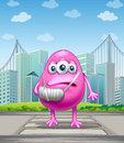 An injured pink monster crossing the street illustration of Stock Images