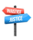 Injustice versus justice road sign illustration design over a white background Royalty Free Stock Photography
