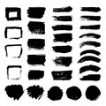 Ink black art brushes vector set. Dirty grunge painted strokes Royalty Free Stock Photo