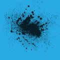 Ink blots blue background with black blot eps Royalty Free Stock Photography