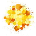 Ink blots and halftones patterns in yellow colors set of Stock Image
