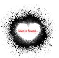 Ink blots heart with and red text Royalty Free Stock Images