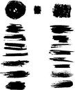 Ink blots stroke set of black strokes on white background eps Royalty Free Stock Photography