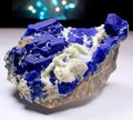Ink Blue Lazurite With White Forsterite Specimen Royalty Free Stock Photo