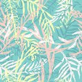 Ink camouflage wallpaper, seamless pattern with leafs and twigs. Tropical nature, plants ferns in bright pastel colors for summer.