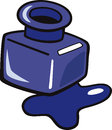 Ink clip art cartoon illustration of blue in the bottle Royalty Free Stock Photography