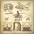 Ink drawing of risky salesgirl scene actress collection doodle sketch escape travel on grunge paper background Stock Image