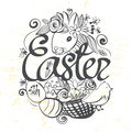 Ink hand drawn black and white Easter illustration ready for col