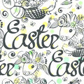 Ink hand drawn black and white Easter seamless pattern