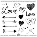 Ink hand drawn doodle love set heart and arrow pen line arrows valentine's day elements illustration Stock Photo
