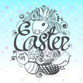 Ink hand drawn illustration with all the symbols of Easter and S