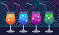 Ink hand drawn party drinks colorful collection