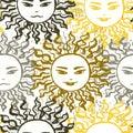 Ink hand drawn slavic sun seamless patttern