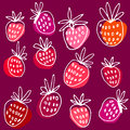 Ink hand drawn vector pattern with strawberry. Royalty Free Stock Photo