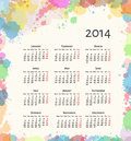 Ink splash calendar vector illustration of colorful paint Royalty Free Stock Photo