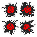 Ink stains silhouettes with red roses