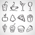 Ink style sketch set food drinks ice cream hand drawn Royalty Free Stock Images