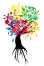 Ink tree illustration of with roots Stock Image