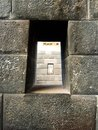 Inka stonework windows in Peru Royalty Free Stock Photo