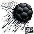 Inked dark soccer ball