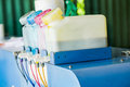 Inkjet printer toners colorful tube line Royalty Free Stock Photo