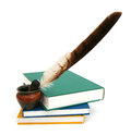Inkstand and old books Royalty Free Stock Photo