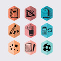 Inky black hand drawn school stationery hexagon icons set supplies and on off white background Stock Images