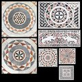 Inlaid marble Gothic ornaments Stock Photos