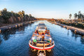 Inland vessel drives a canal Royalty Free Stock Photo