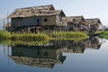 Inle lake myanmar asia typical villages on Stock Photos