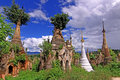 Inle Lake Myanmar - Indein Pagodas Royalty Free Stock Photo