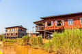 Inle lake panorama of the small floating village at myanmar Stock Image