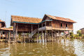 Inle lake panorama of the small floating village at myanmar Stock Photography