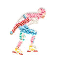 Inline speed skating doping drugs in the shape of a roller skater on track Stock Image