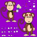 Inlove ape cartoon expressions set monkey in vector format very easy to edit Stock Photos