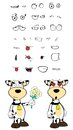 Inlove cow cartoon expressions set in vector format very easy to edit Royalty Free Stock Image